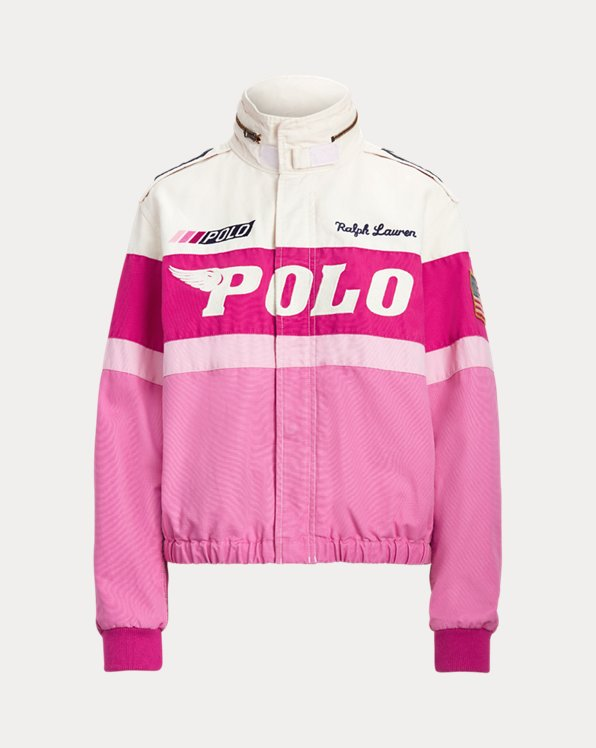 Pink Pony Cotton Canvas Bomber Jacket