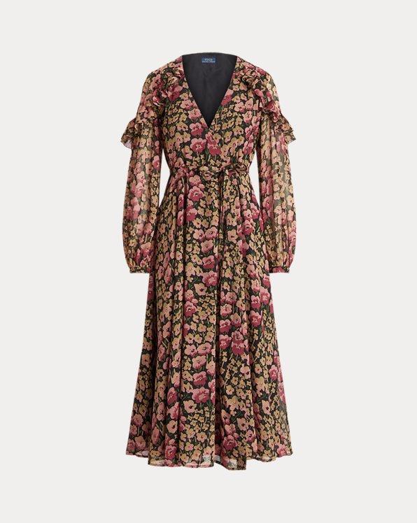 Ruffle-Trim Floral Wrap Dress