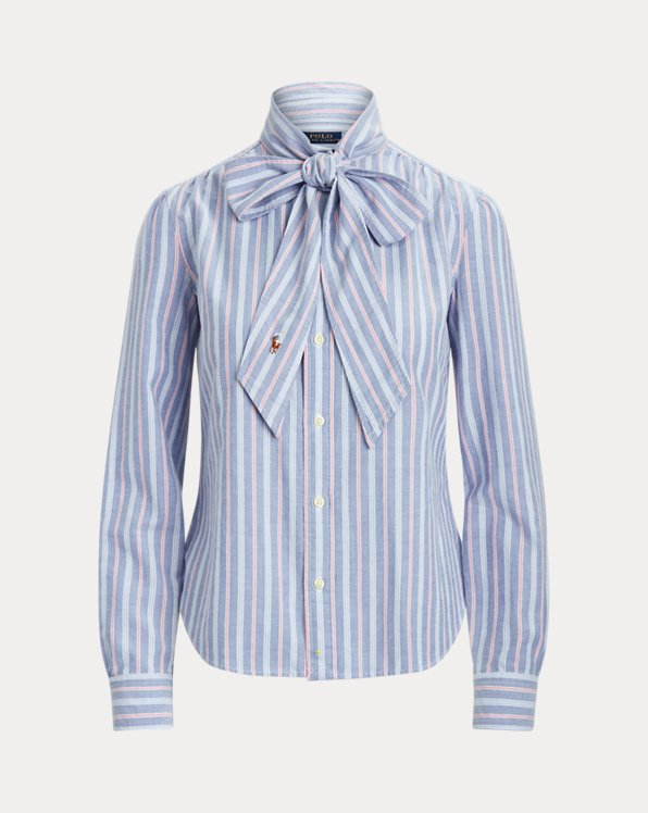 Cotton Oxford Tie-Neck Shirt