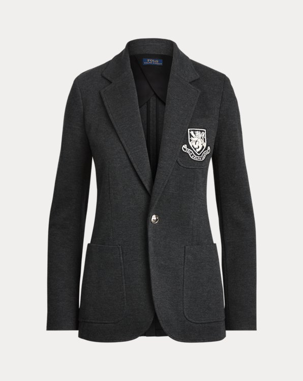 Crest-Patch Cotton-Blend Blazer