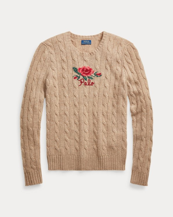 Floral Embroidery Cable-Knit Jumper