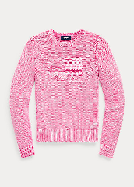 Polo Ralph Lauren Pink Pony Flag Cotton Sweater
