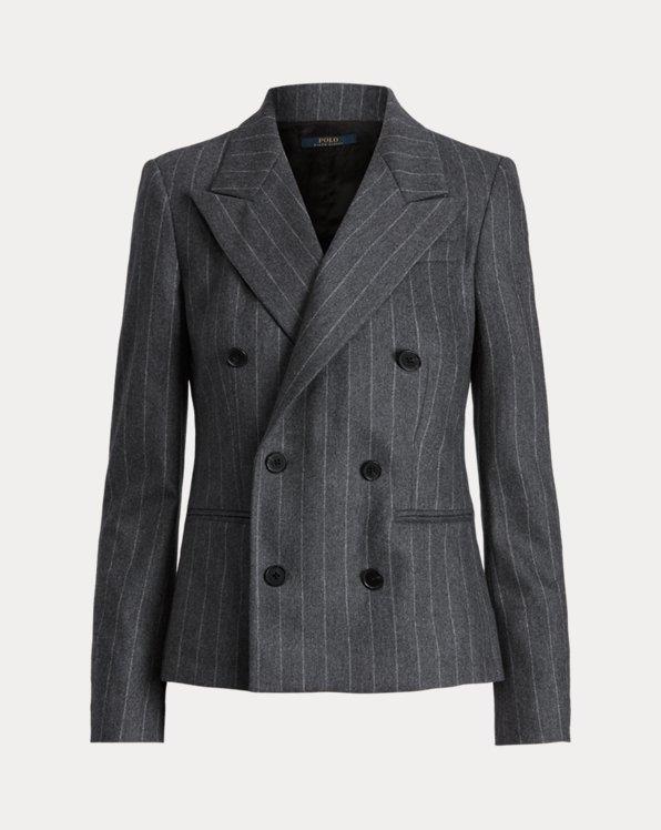 Blazer gessato in misto lana