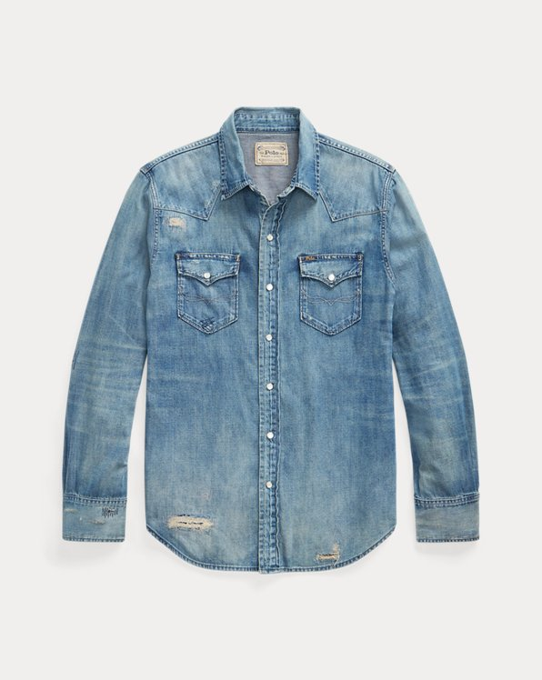 Distressed Denim Western Shirt