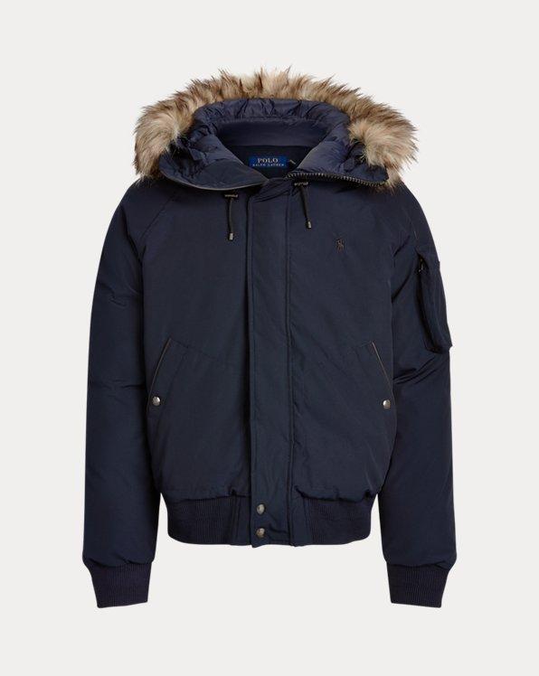 Faux Fur-Trim Down Bomber Jacket