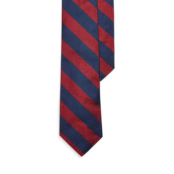 폴로 랄프로렌 스트라이프 실크 내로우 넥타이 Polo Ralph Lauren Striped Silk Repp Narrow Tie,Navy/Wine