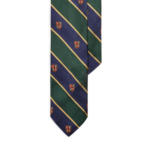 폴로 랄프로렌 실크 내로우 넥타이 Polo Ralph Lauren Striped Silk Narrow Club Tie,Green/ Navy