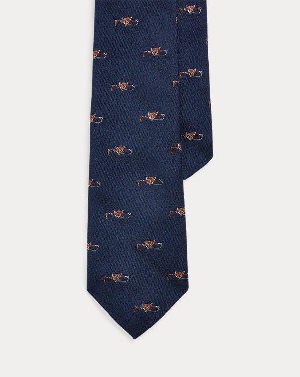 Fox & Crop Wool-Silk Tie