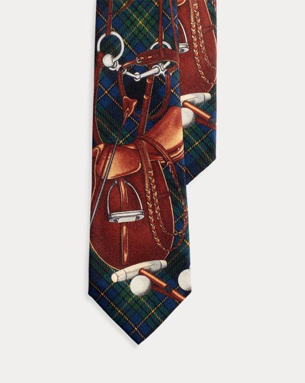 Saddle-Print Tartan Wool Tie