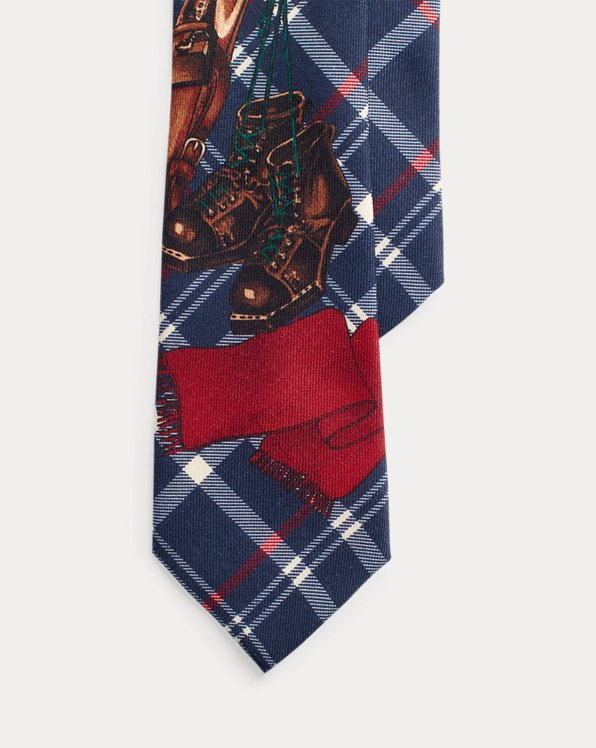 Ski-Print Plaid Wool Tie
