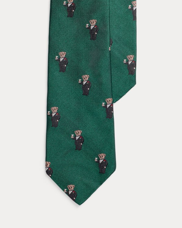 Martini Bear Silk Narrow Tie