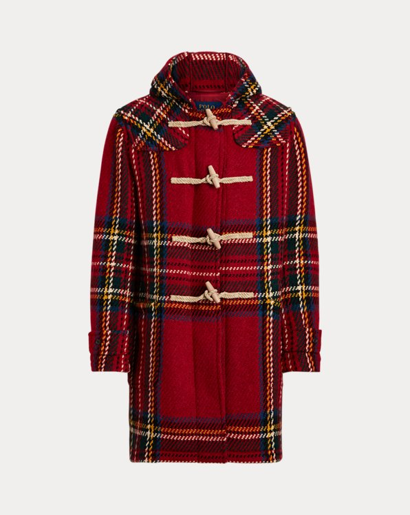Duffel-coat tartan en tweed de laine