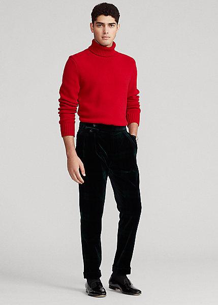 Polo RalphLauren Pleated Tartan Velvet Formal Trouser