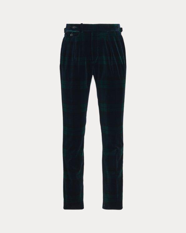 Pleated Tartan Velvet Trouser