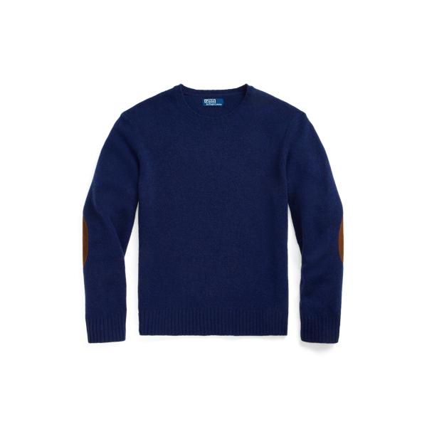 폴로 랄프로렌 맨 스웨이드 패치 울캐시미어 스웨터 Polo Ralph Lauren Suede Patch Wool Cashmere Sweater,Spring Navy Heather