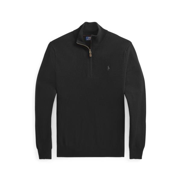 폴로 랄프로렌 맨 메리노울 쿼터집 스웨터 Polo Ralph Lauren Merino Wool Quarter Zip Sweater,Polo Black