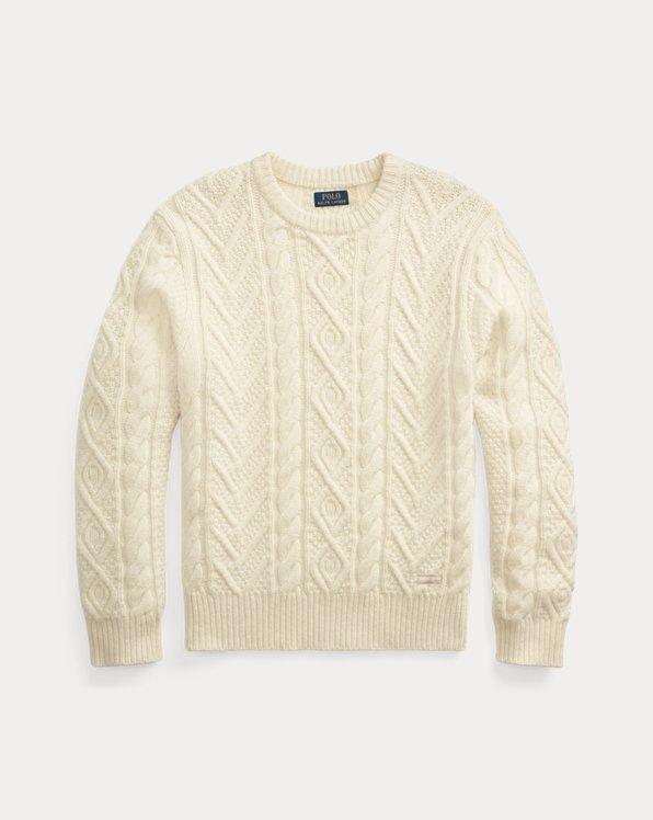 Woll-Kaschmir-Pullover mit Aranmuster