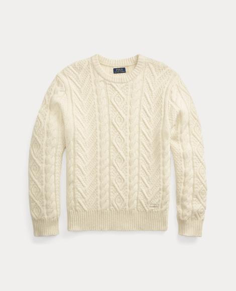 Aran-Knit Wool-Cashmere Sweater