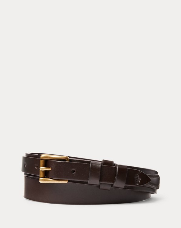 Brass-Buckle Leather Belt