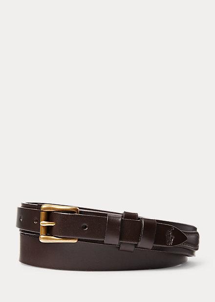 Polo RalphLauren Brass-Buckle Leather Belt