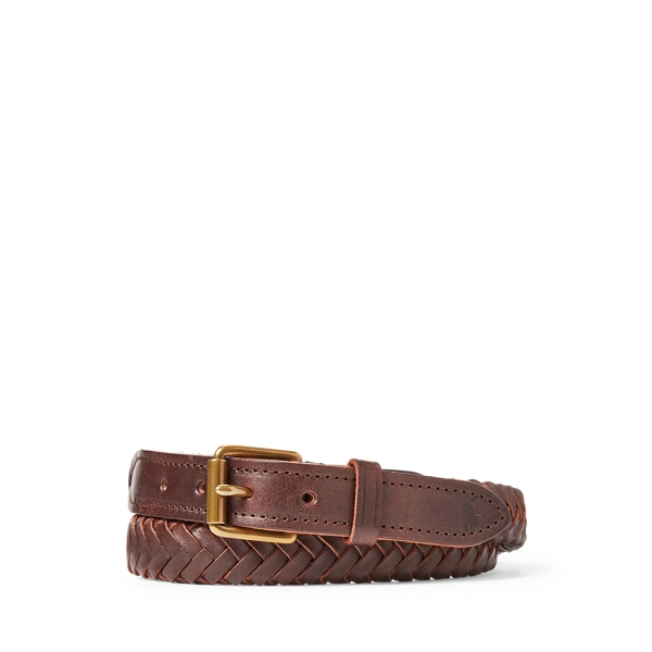 폴로 랄프로렌 Polo Ralph Lauren Braided Leather Belt,Chocolate Russet