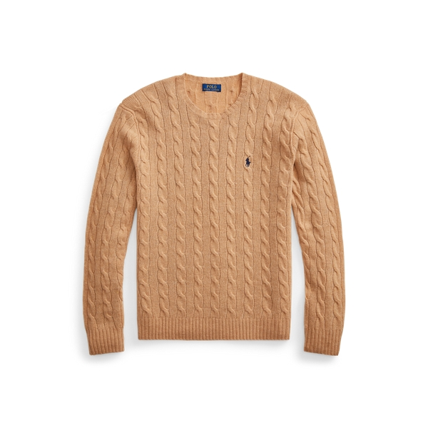 Ralph Lauren Cable-knit Wool-cashmere Sweater In Camel Melange