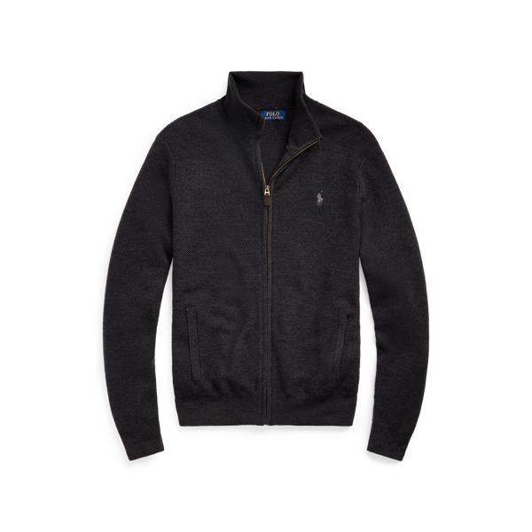 Ralph Lauren Wool Full-zip Sweater In Dark Charcoal Heather