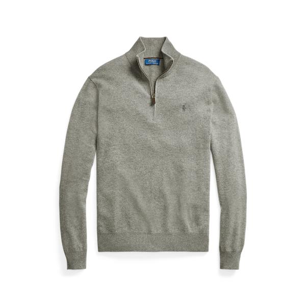 폴로 랄프로렌 맨 메리노울 쿼터집 스웨터 Polo Ralph Lauren Merino Wool Quarter Zip Sweater,Fawn Grey Heather