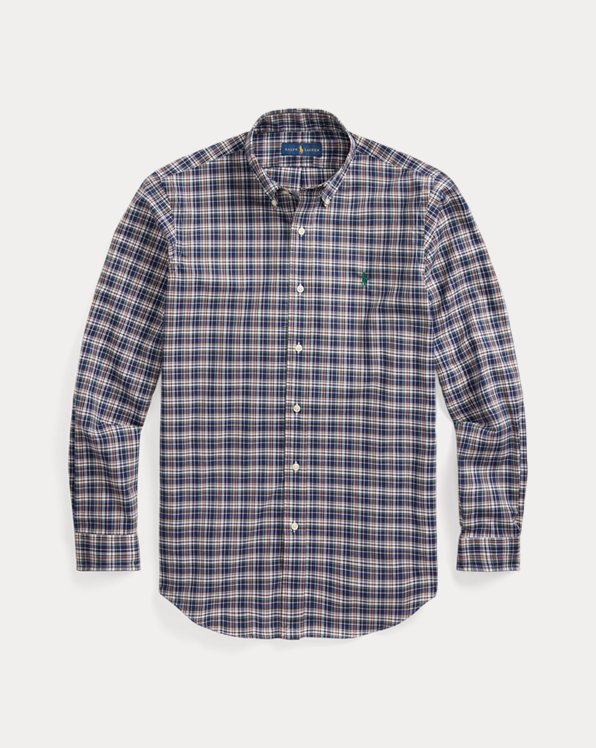 Custom Fit Plaid Poplin Shirt