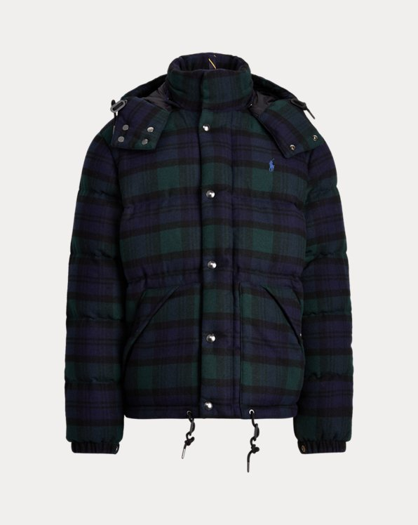 Tartan Wool-Blend Down Jacket