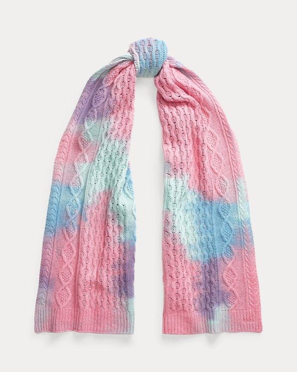 Bufanda de punto Aran con tie-dye