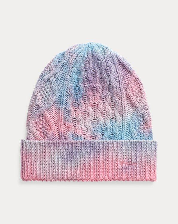Bonnet tie-dye en tricot d'Aran