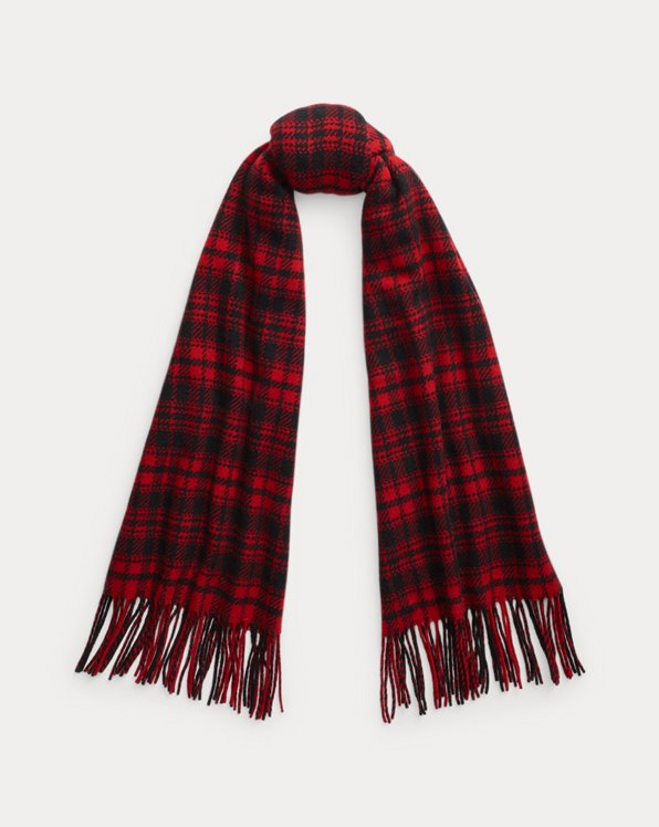 Fringe Plaid Wool Scarf