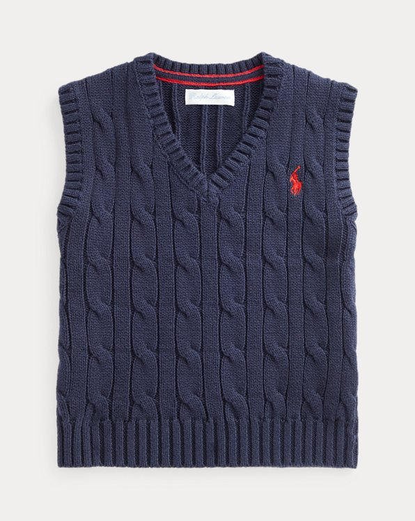 Cable-Knit Cotton Jumper Waistcoat