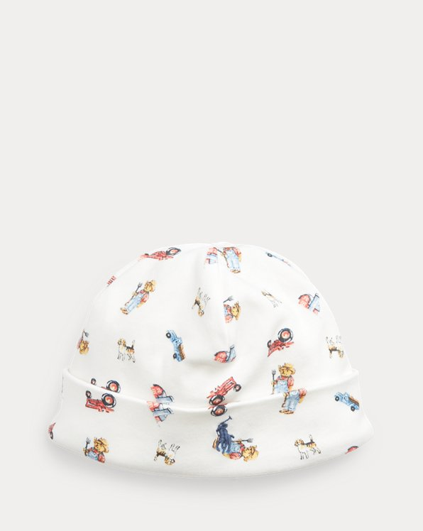 Farmer Bear-Print Cotton Hat