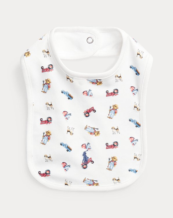Farmer Bear-Print Cotton Bib