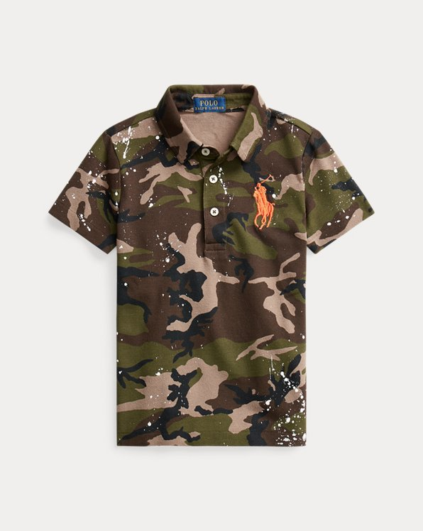 Camo Paint-Splatter Mesh Polo