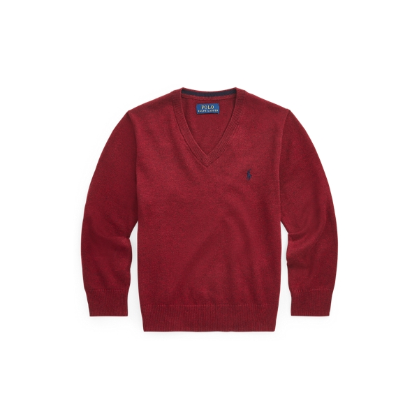 폴로 랄프로렌 남아용 브이넥 스웨터 Polo Ralph Lauren Cotton V-Neck Sweater,Vintage Port Heather