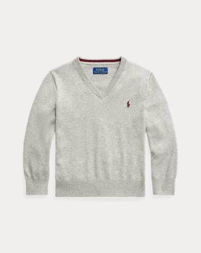 폴로 랄프로렌 남아용 코튼 보이넥 스웨터 - 다크 스포트 헤더 Polo Ralph Lauren Cotton V-Neck Sweater