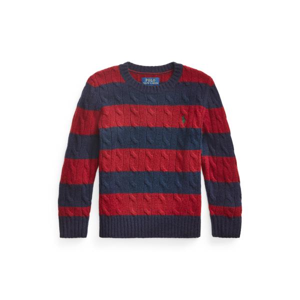 폴로 랄프로렌 남아용 꽈배기 니트 울캐시미어 스웨터 Polo Ralph Lauren Cable Wool-Cashmere Sweater,Classic Wine