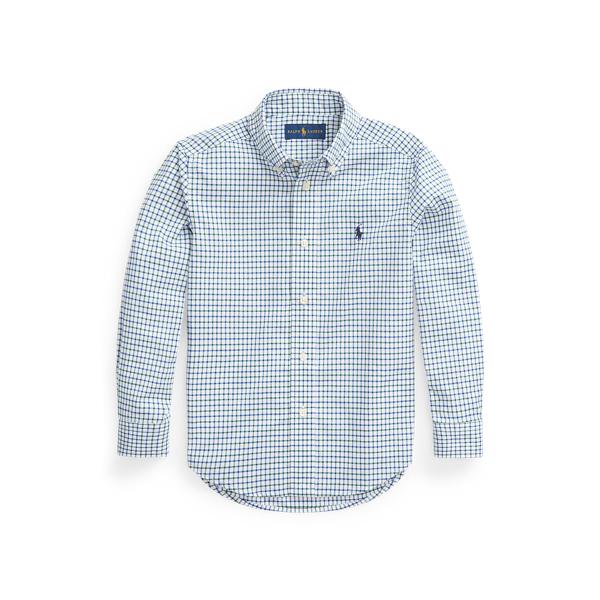 폴로 랄프로렌 남아용 셔츠 Polo Ralph Lauren Tattersall Cotton Poplin Shirt,New Forest/White