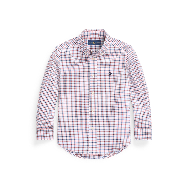 폴로 랄프로렌 남아용 셔츠 Polo Ralph Lauren Tattersall Cotton Poplin Shirt,Classic Wine/White