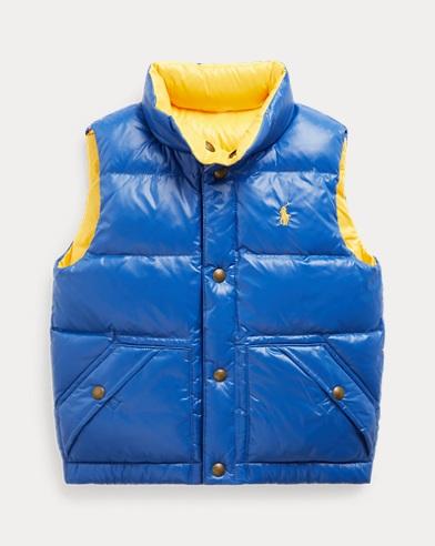 폴로 랄프로렌 남아용 리버서블 오리털 패딩 조끼 - 블루/옐로우 (샘 헤밍턴 아들 벤틀리 착용) Polo Ralph Lauren Reversible Down Vest