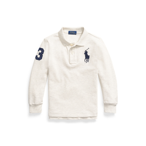 폴로 랄프로렌 남아용 폴로 셔츠 Polo Ralph Lauren Big Pony Mesh Long-Sleeve Polo,American Heather