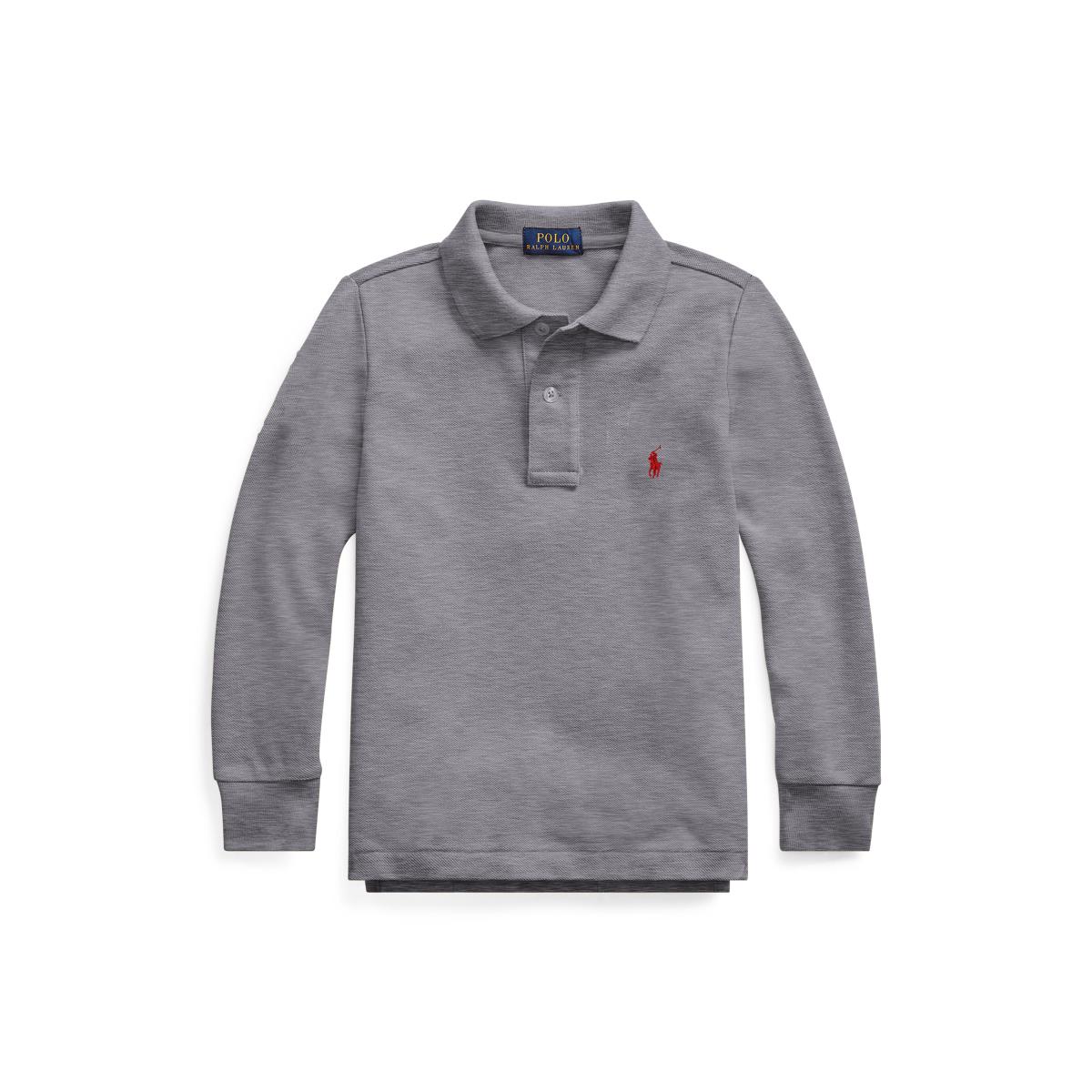Cotton Mesh Long-Sleeve Polo