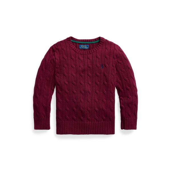 폴로 랄프로렌 남아용 꽈배기 니트 스웨터 Polo Ralph Lauren Cable-Knit Cotton Sweater,Classic Wine