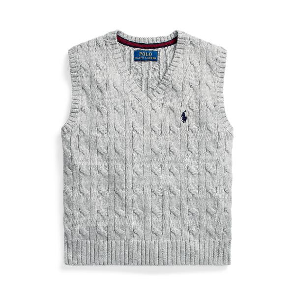 폴로 랄프로렌 남아용 꽈배기 니트 스웨터 Polo Ralph Lauren Cable-Knit Cotton Sweater Vest,League Heather