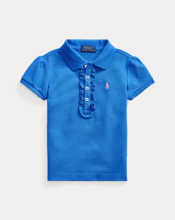 Ruffled Cotton Mesh Polo