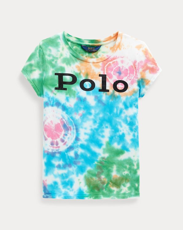 Camiseta de punto tie-dye y logo