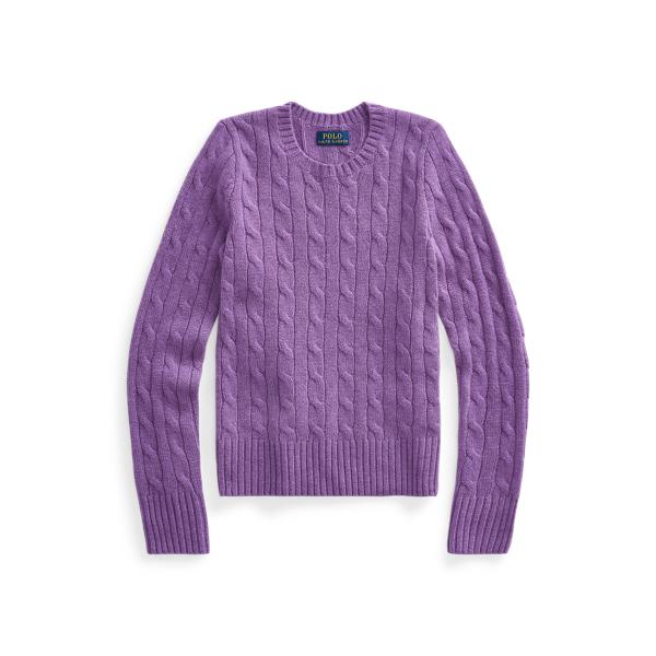 폴로 랄프로렌 Polo Ralph Lauren Cable-Knit Cashmere Sweater,Bright Purple Heather